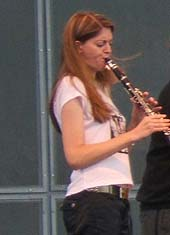 Eve Monzingo playing with Chicago Klezmer Ensemble at Ashkenaz 2006
