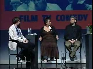 still from Nextbook panel w/Frank London, Jewlia Eisenberg, and Josh Kun